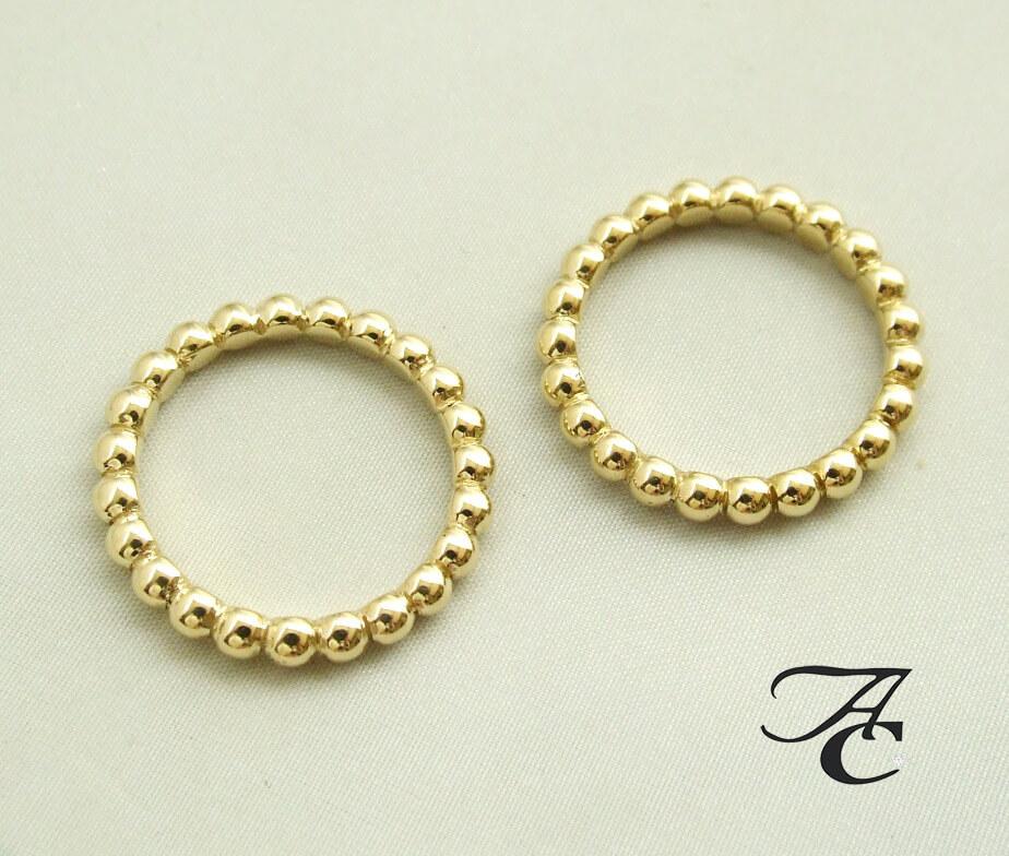 Geel gouden bolletjes ring