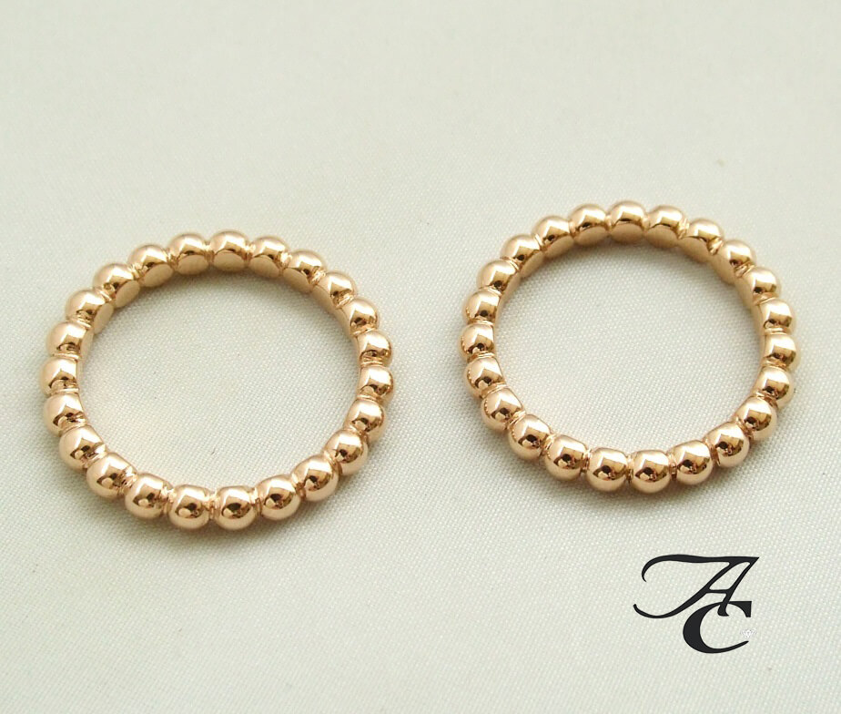 Rosé gouden bolletjes ring