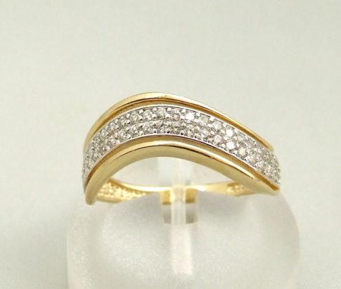 Geel gouden occasion zirkonia ring