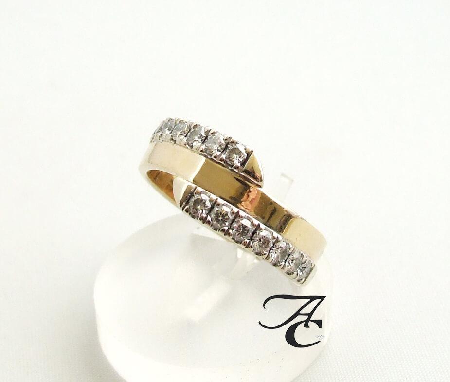 Gouden ring met 2 rijen briljanten