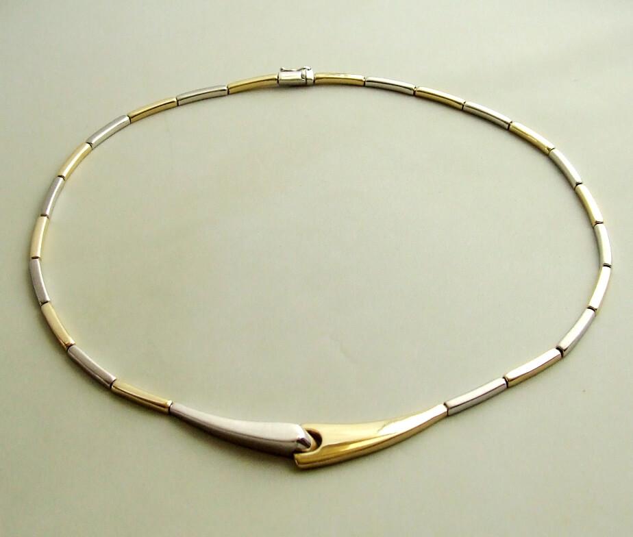 Tweedehands bicolor gouden collier