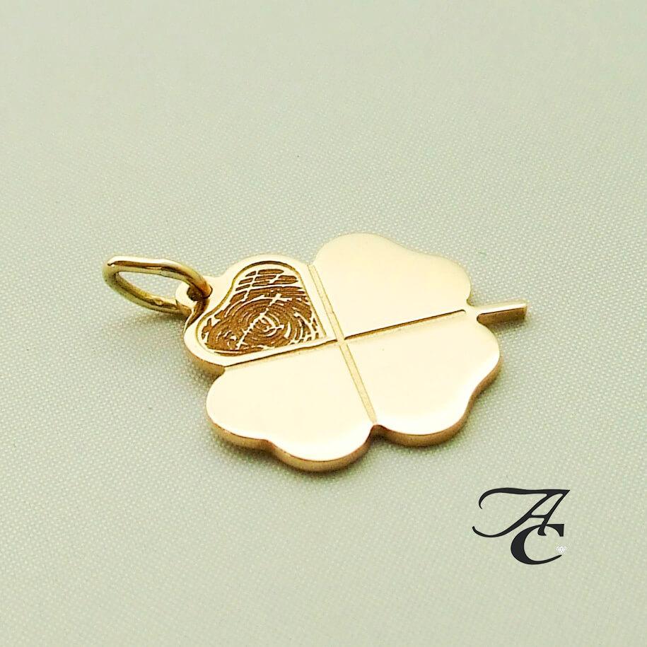 Fingerprint gouden klavertje vier hanger