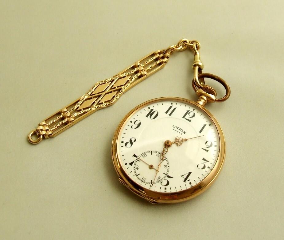 Gouden UNION zakhorloge met horlogeketting