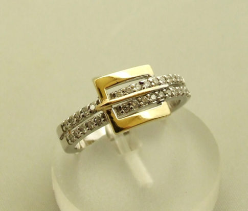 Occasion bicolor gouden ring met briljanten