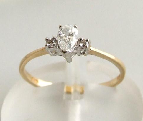Occasion bicolor ring met diamanten