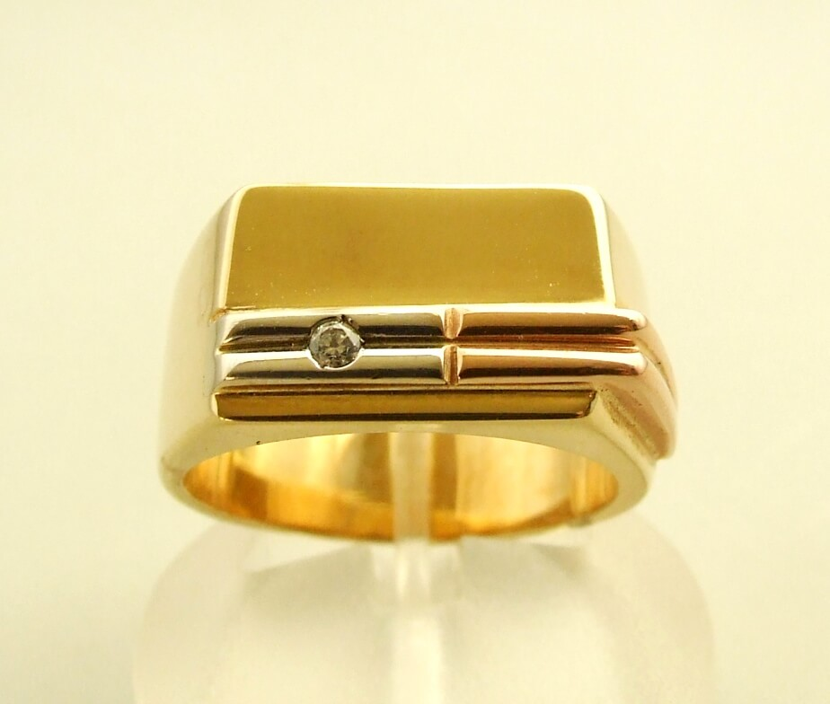 Gouden fantasie ring met diamant