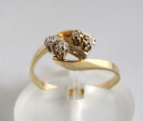 Gouden bicolor ring met diamanten