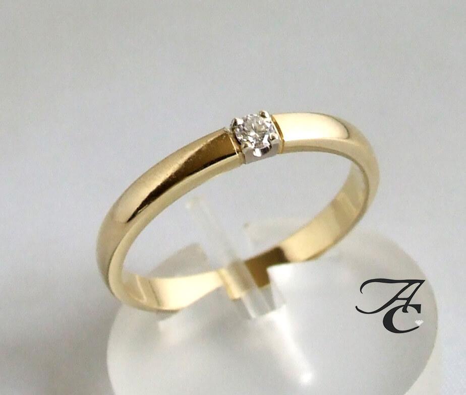 Geel gouden ring met briljant