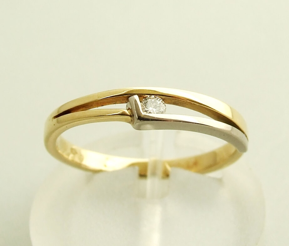 Bicolor diamanten Christian ring