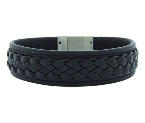Christian Leather Black Yarn White Clasp