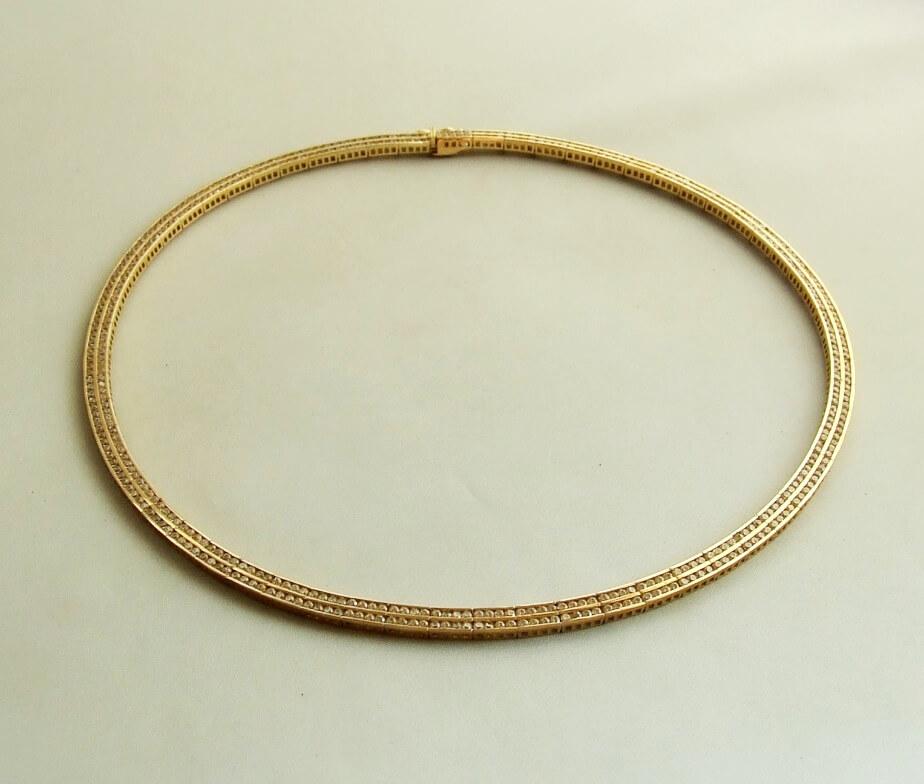 Geel gouden collier met zirkonia