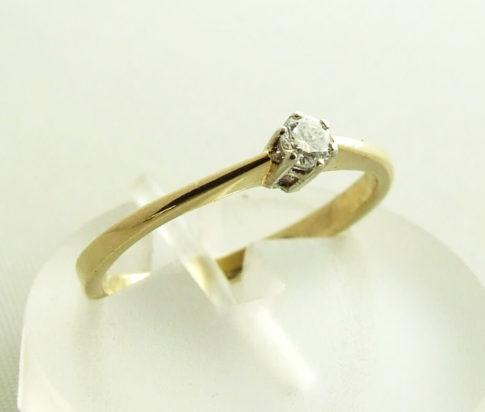 Geel gouden briljant geslepen diamanten ring