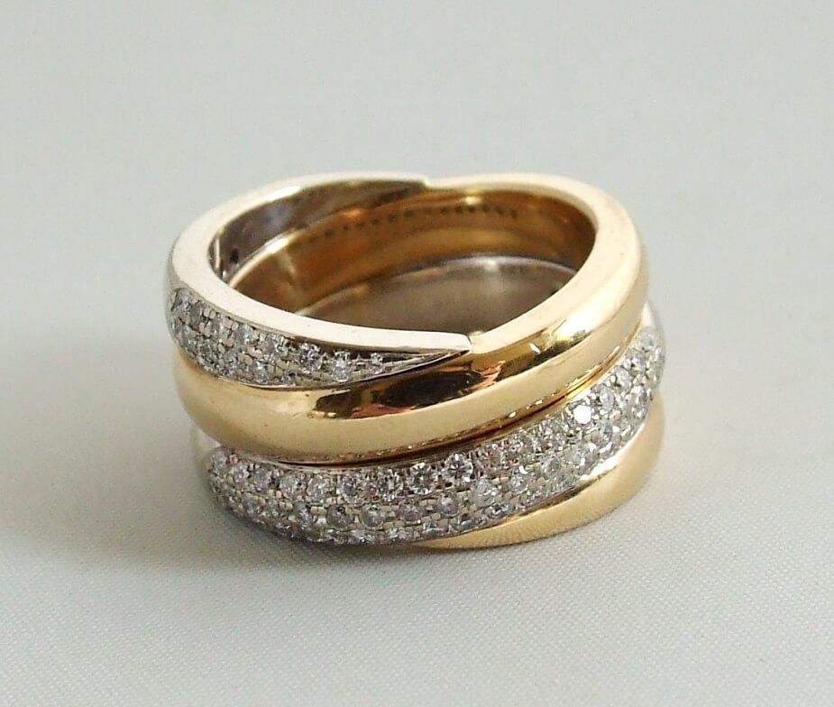18 karaat gouden ring met briljanten