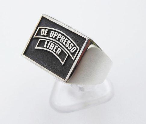 Zilveren zegelring De Oppresso Liber