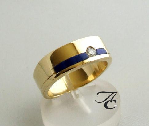Gouden Lapis Lazuli ring