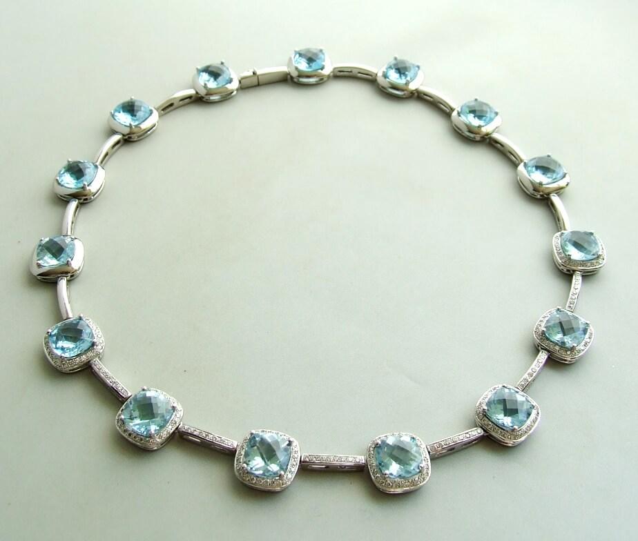 18 karaat wit gouden topaas en diamanten collier