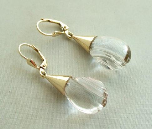 Gouden bergkristal oorbellen