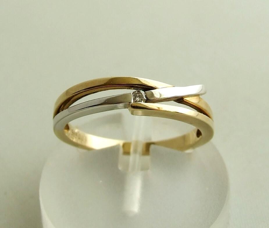 Christian bicolor gouden ring met diamant