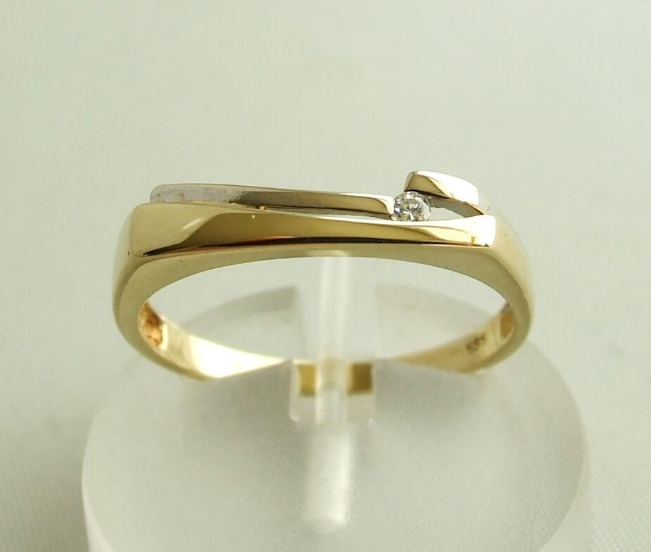 Gouden bicolor ring met diamant