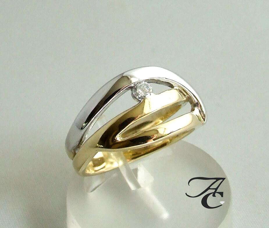 Bicolor briljanten ring