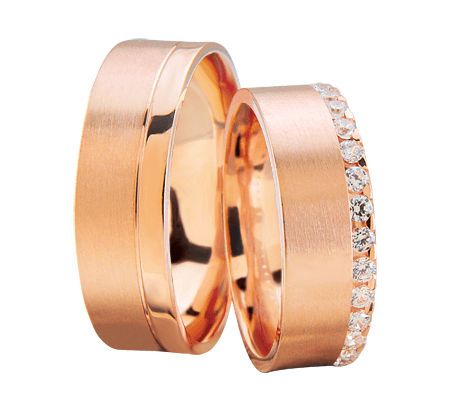 Rosé gouden trouwringen met diamanten