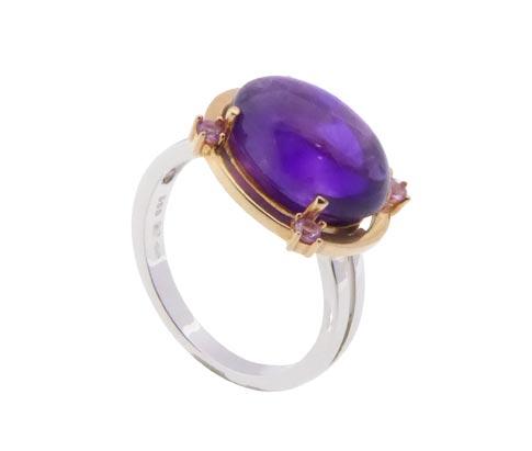 Wit gouden ring met amethyst