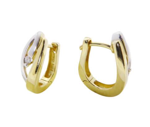 Gouden oorbellen met diamanten