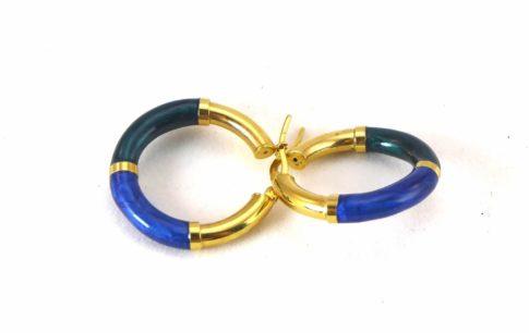 Emaille oorbellen met gouden slot