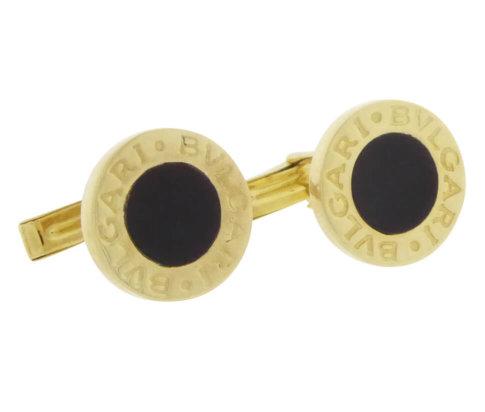 14 karaat gouden Bvlgari manchetknopen met onyx