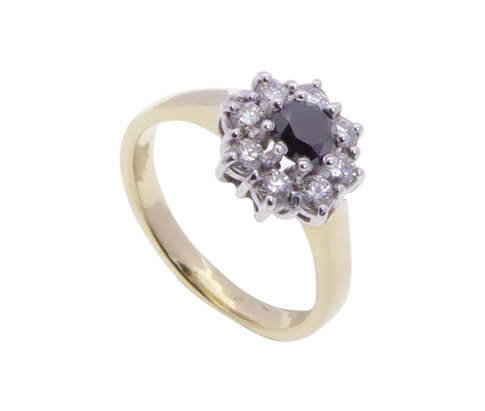 Gouden ring met Black and White Diamonds