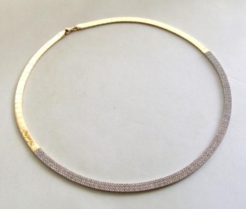 14 karaat geel- en wit gouden collier met zirkonia