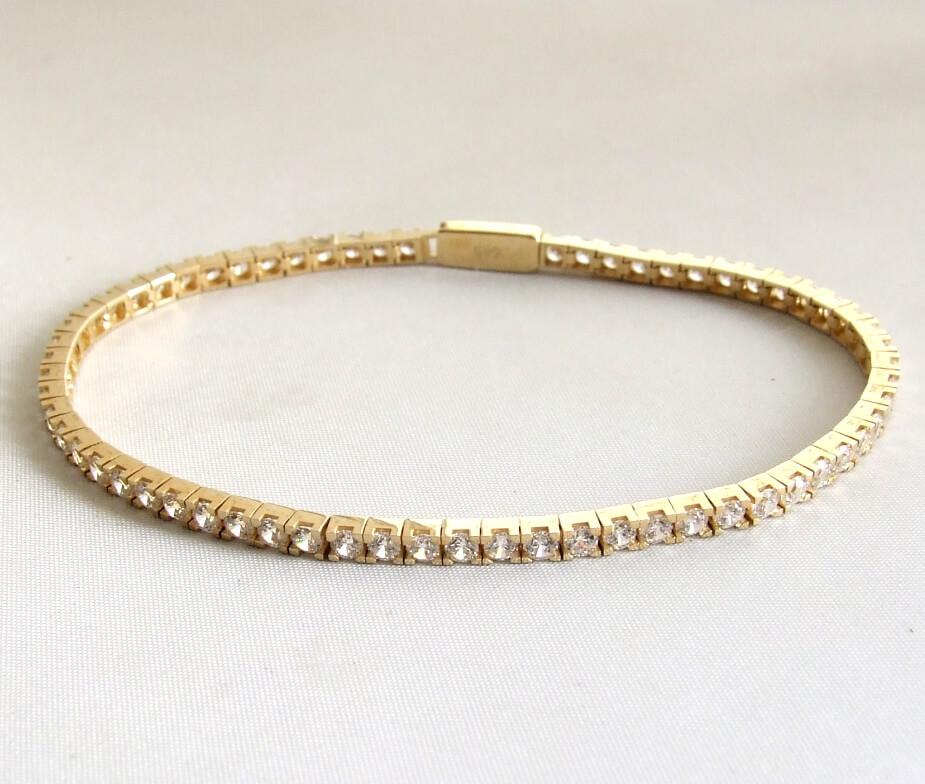 14 karaat geel gouden armband met zirkonia