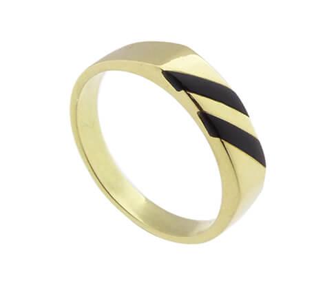 14 karaat geel gouden ring met onyx