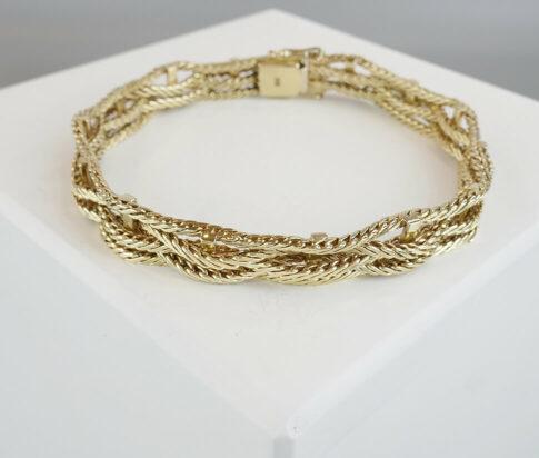 Christian 14 karaat geel gouden gevlochten armband