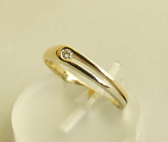 14 karaat bicolor ring met briljant
