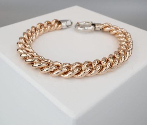 14 karaat gouden rosé en wit armband