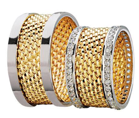 Bicolor trouwringen 74 diamanten