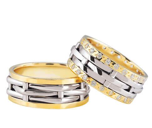Bicolor trouwringen met 2 rijen diamanten