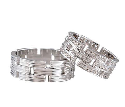 Christian wit gouden diamanten trouwringen