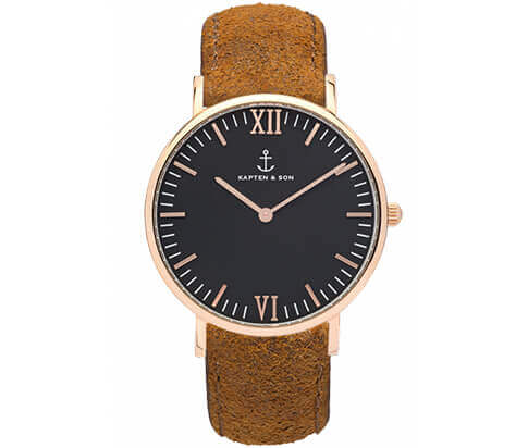 Kapten en Son horloge Black Brown Vintage Leather Campus 4251145223571