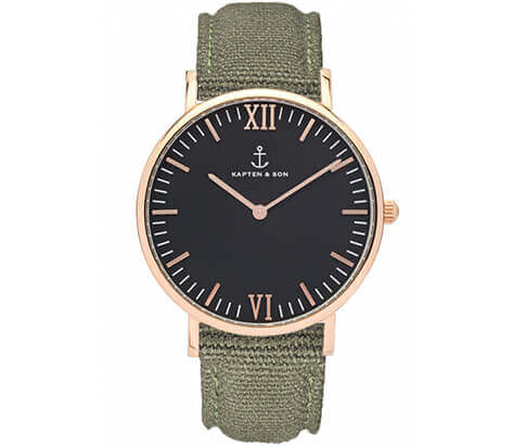 Kapten en Son horloge Black Olive Canvas Campina 4251145223762