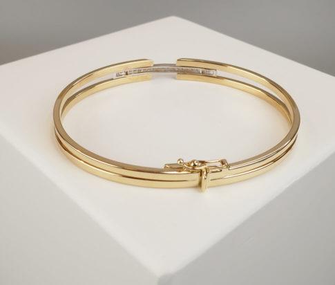 14 karaat Christian gouden bicolor armband