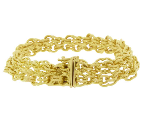 18 karaat gevlochten gouden armband