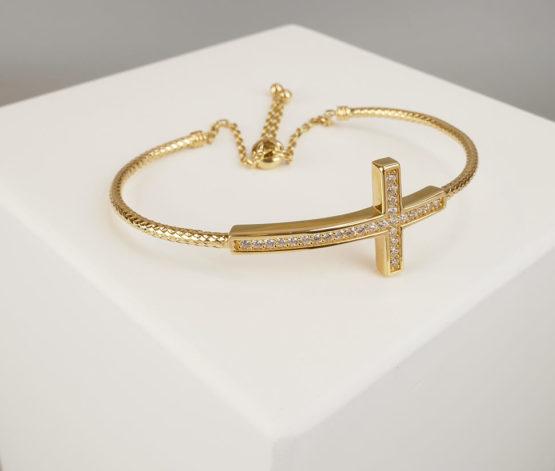18 karaat gouden armband met kruis