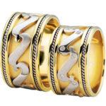 Bicolor diamanten trouwringen fantasie model