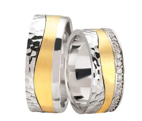 Bicolor fantasie trouwringen met 37 diamanten