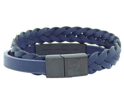 Christian Double Blue Bracelet Black Clasp