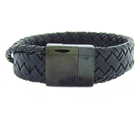 Christian Leather Black Bracelet