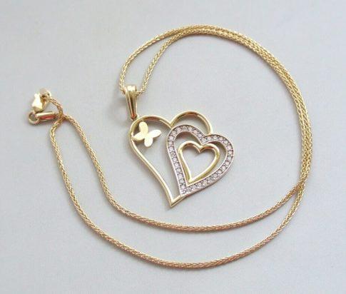 Gouden collier met zirkonia hanger
