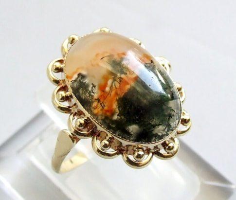 Gouden mos agaat ring